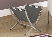Load image into Gallery viewer, Magazine Rack - Grey Leather-Look / Chrome Metal