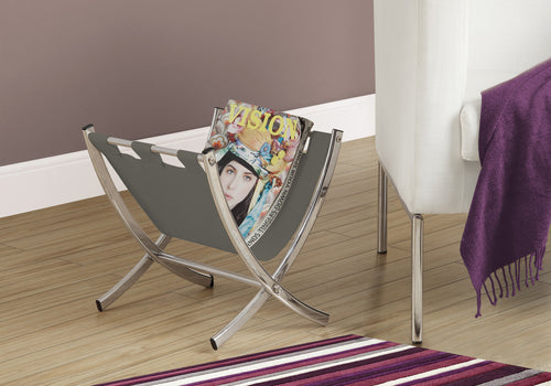 Magazine Rack - Grey Leather-Look / Chrome Metal