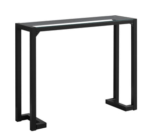 "Console Table - 42""L / Black / Tempered Glass Hall Console"