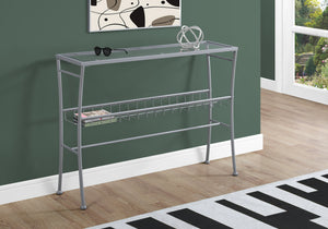 "Console Table - 42""L / Silver /Tempered Glass Hall Console"
