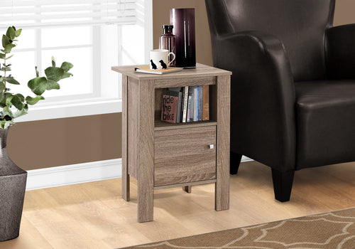 Candace & Basil Accent Table - Dark Taupe Night Stand With Storage