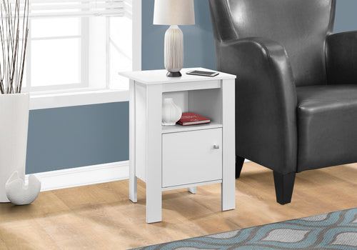 Candace & Basil Accent Table - White Night Stand With Storage