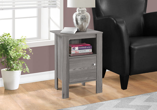 Candace & Basil Accent Table - Grey Night Stand With Storage