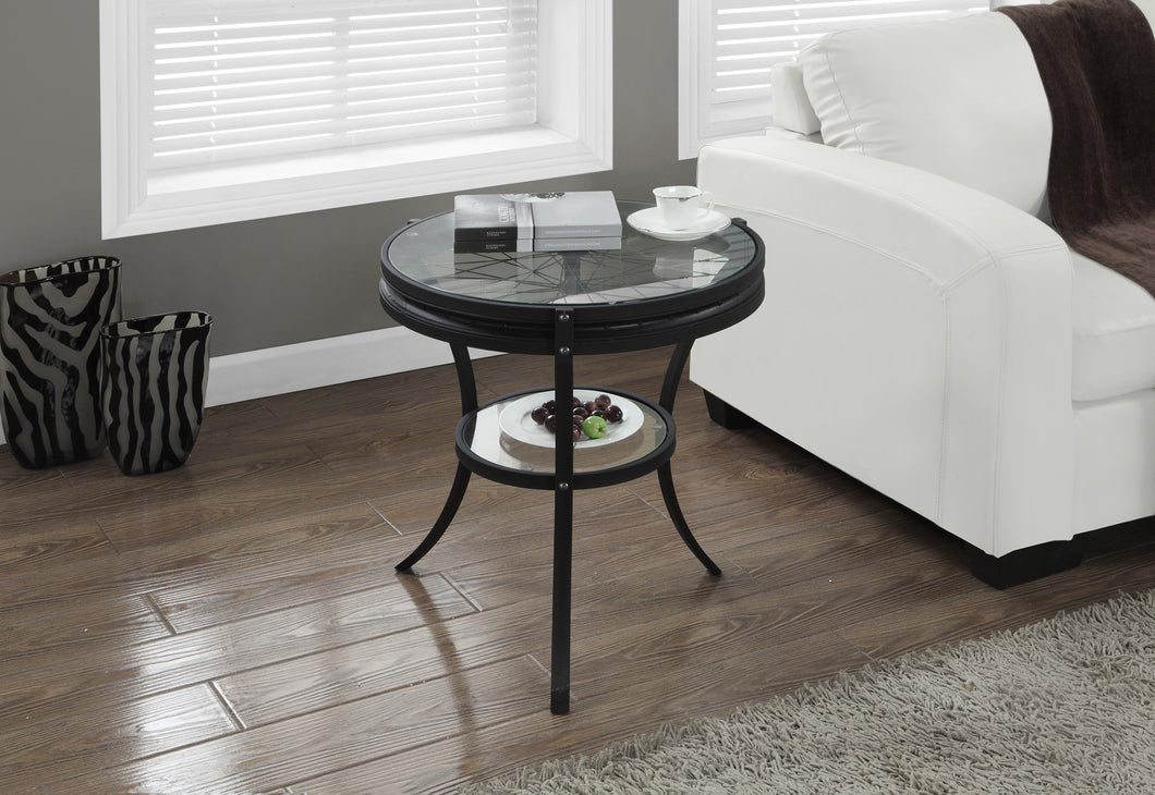 Candace & Basil Antique Glass Top Side Table - Black