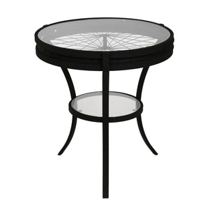 Antique Glass Top Side Table - Black