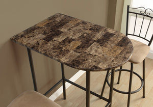 "Home Bar - 24""X 36"" / Cappuccino Marble / Metal"