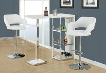 Load image into Gallery viewer, Candace & Basil Barstool - White / Chrome Metal Hydraulic Lift