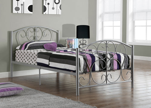 Candace & Basil Weldon Platform Twin Bed Frame - Silver Metal