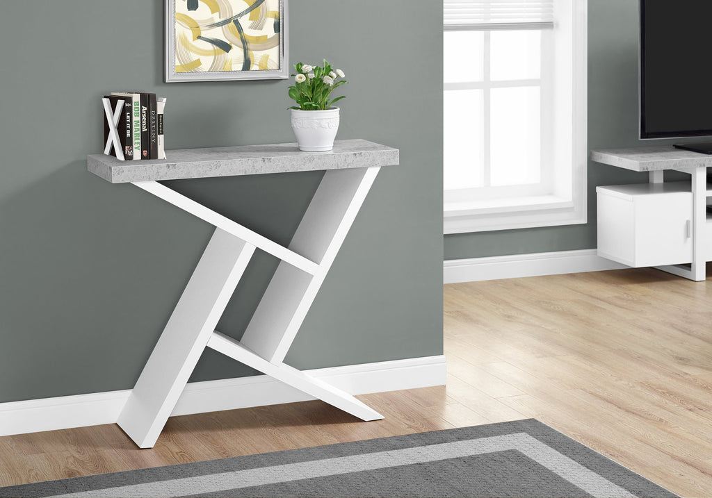"Candace & Basil Accent Table - 36""L / White / Cement-Look Hall Console"