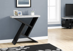 "Candace & Basil Accent Table - 36""L / Black / Cement-Look Hall Console"