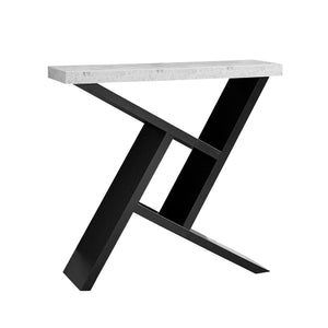 "Console Table - 36""L / Black / Cement-Look Hall Console"
