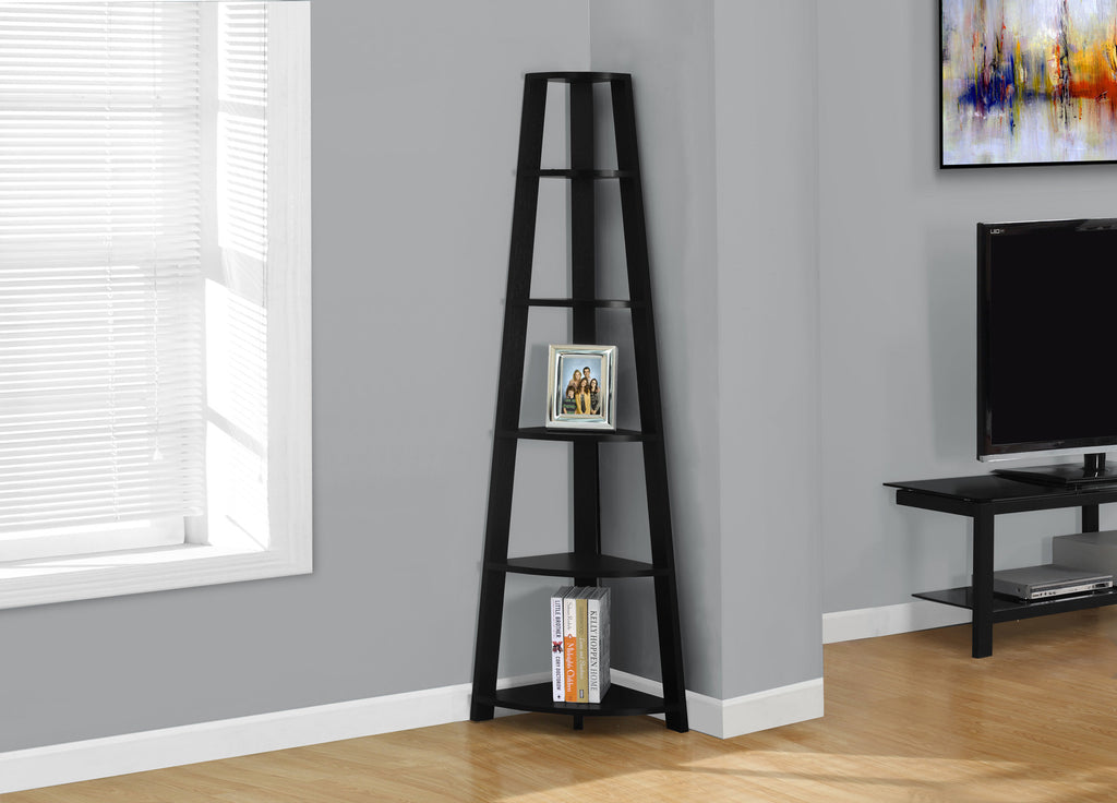 "Candace & Basil Bookcase - 72""H / Black Corner Accent Etagere"