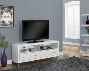 "Candace & Basil TV Stand - 60""L / White With 4 Drawers"