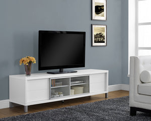 "Candace & Basil TV Stand - 70""L / White Euro Style"
