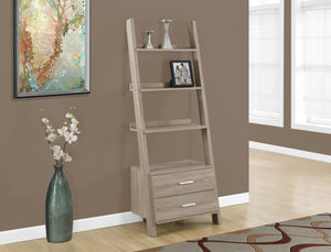 "Candace & Basil Bookcase - 69""H / Dark Taupe Ladder W/ 2 Storage Drawers"