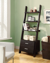 "Load image into Gallery viewer, Candace & Basil Bookcase - 69""H / Cappuccino Ladder W/ 2 Storage Drawers"