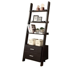 "Load image into Gallery viewer, Bookcase - 69""H / Cappuccino Ladder W/ 2 Storage Drawers"