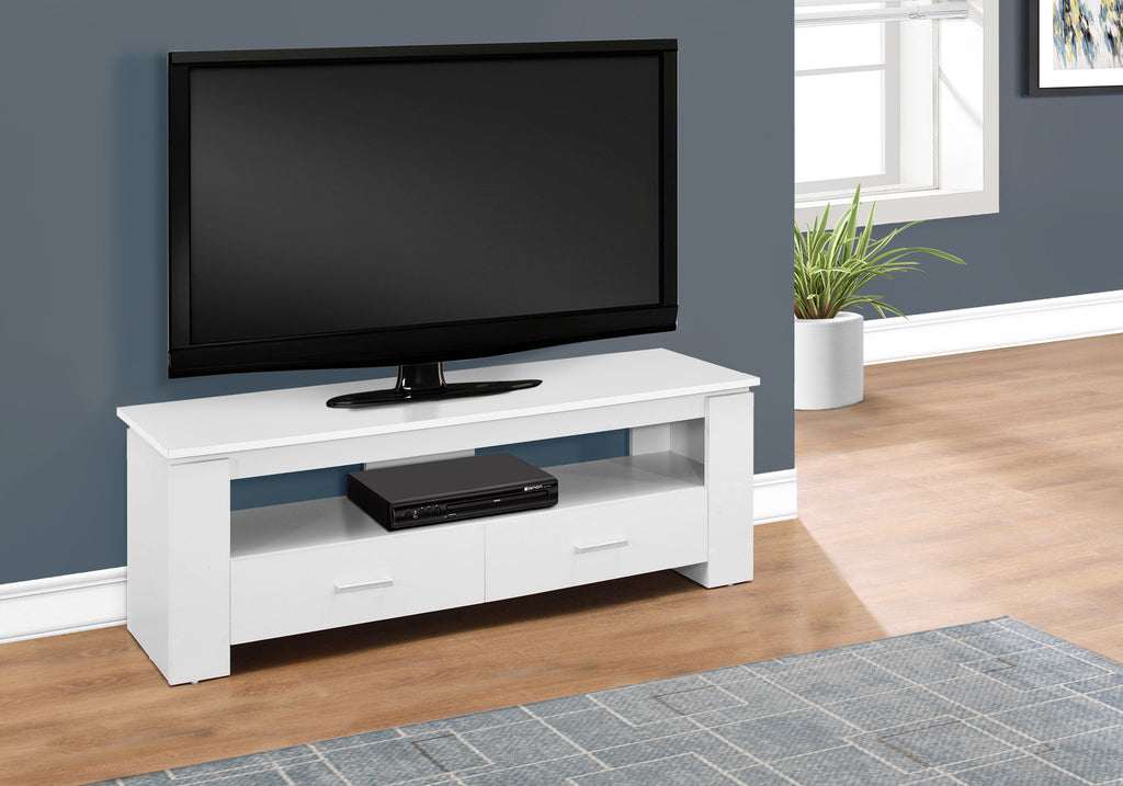 "Candace & Basil TV Stand - 48""L / White With 2 Storage Drawers"