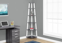 "Load image into Gallery viewer, Candace & Basil Bookcase - 72""H / Grey-White Corner Accent Etagere"