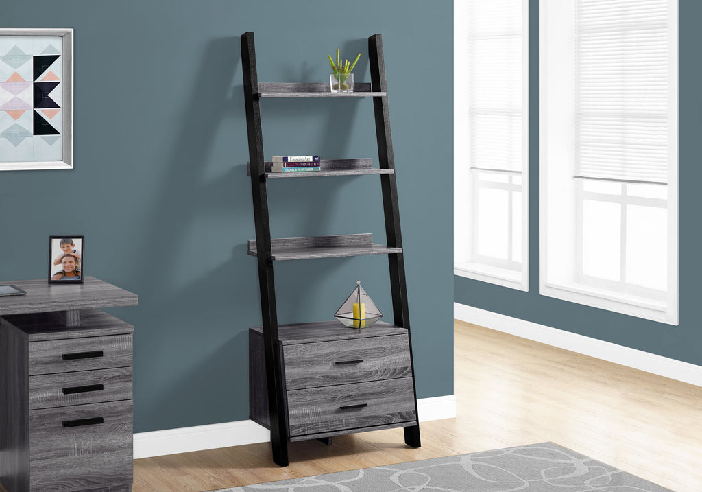 "Candace & Basil Bookcase - 69""H / Grey-Black Ladder With 2 Storage Drawer"