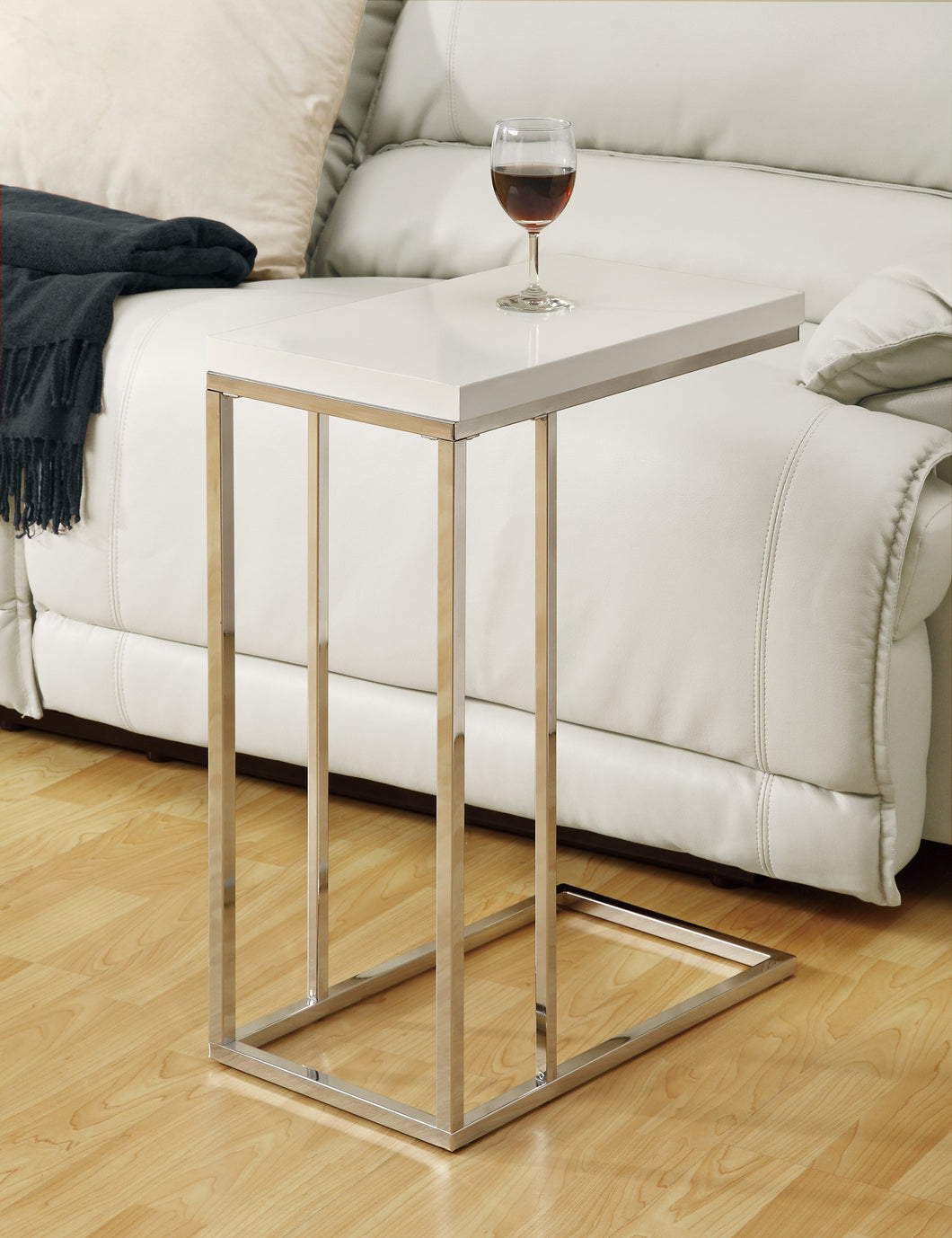 Candace & Basil Snack Table - Glossy White With Chrome Metal