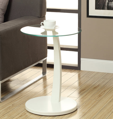 Candace & Basil Snack Table - White Bentwood With Tempered Glass