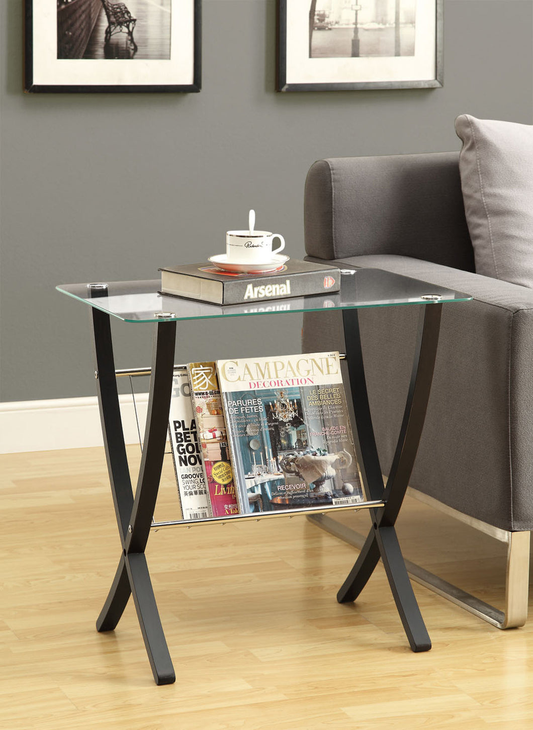 Candace & Basil Accent Table - Cappuccino Bentwood With Tempered Glass