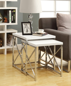 Candace & Basil Nesting Table - 2PC Set / Glossy White / Chrome Metal