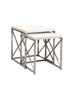 Nesting Table - 2PC Set / Glossy White / Chrome Metal