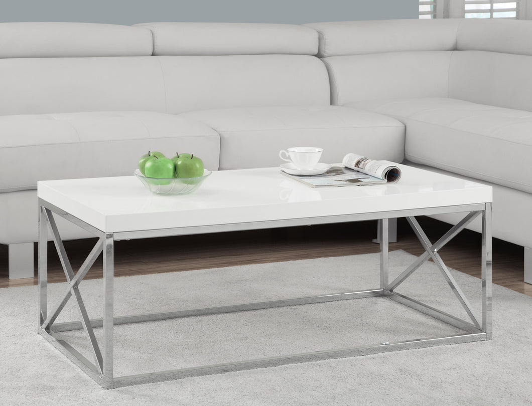Candace & Basil Coffee Table - Glossy White With Chrome Metal
