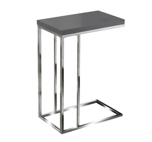 Snack Table - Glossy Grey With Chrome Metal