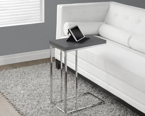 Candace & Basil Snack Table - Glossy Grey With Chrome Metal