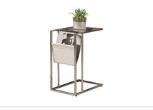 Load image into Gallery viewer, Snack Table - White / Chrome Metal With A Magazine Rack
