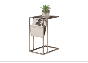 Snack Table - White / Chrome Metal With A Magazine Rack