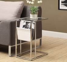 Load image into Gallery viewer, Candace & Basil Snack Table - White / Chrome Metal With A Magazine Rack