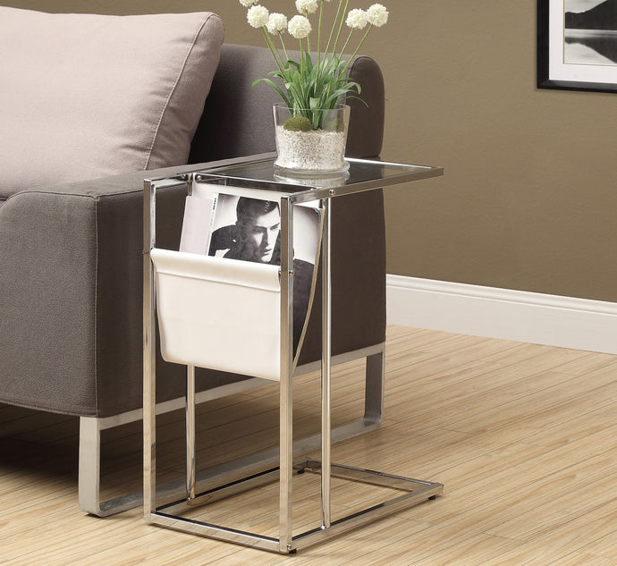 Candace & Basil Snack Table - White / Chrome Metal With A Magazine Rack