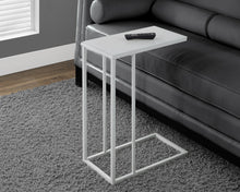 Load image into Gallery viewer, Candace & Basil Snack Table - White Metal With Frosted Tempered Glass