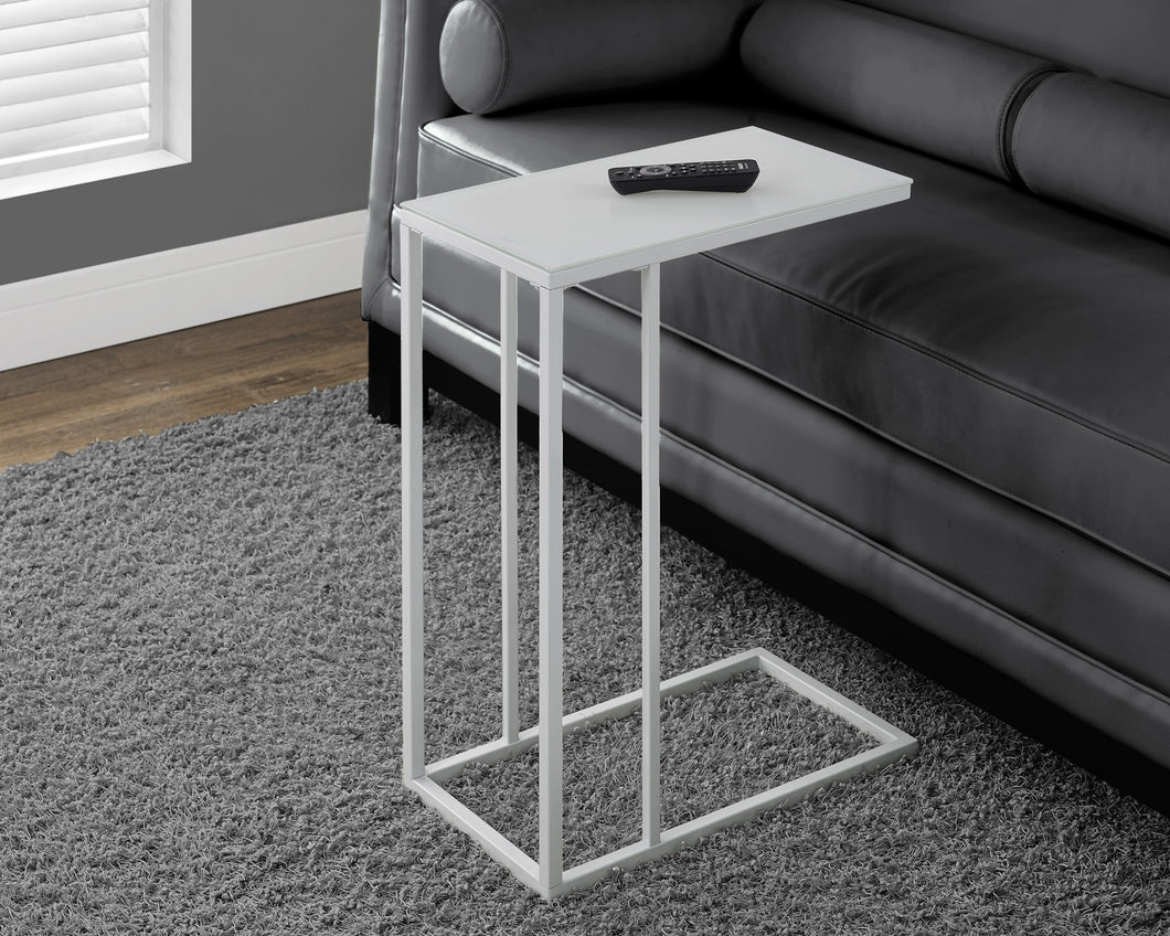 Candace & Basil Snack Table - White Metal With Frosted Tempered Glass