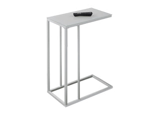 Snack Table - White Metal With Frosted Tempered Glass