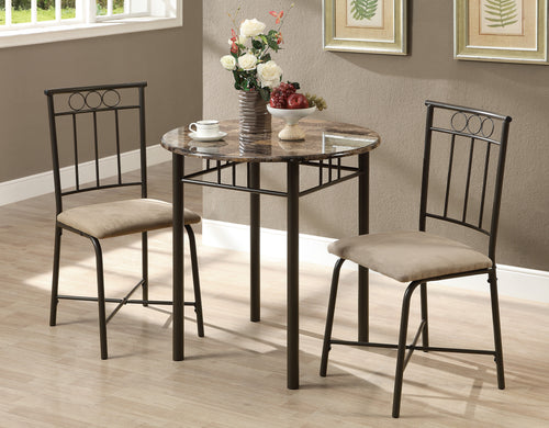 Candace & Basil Dining Set - 3PC Set / Cappuccino Marble / Bronze Metal