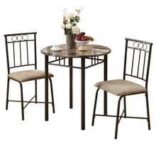 Load image into Gallery viewer, Dining Set - 3PC Set / Cappuccino Marble / Bronze Metal