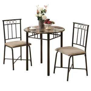 Dining Set - 3PC Set / Cappuccino Marble / Bronze Metal