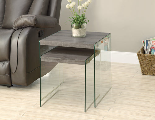 Candace & Basil Nesting Table - 2PC Set / Dark Taupe / Tempered Glass