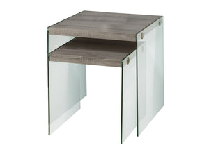 Nesting Table - 2PC Set / Dark Taupe / Tempered Glass