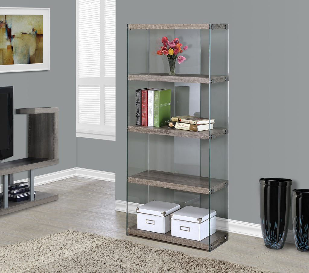 "Candace & Basil Bookcase - 60""H / Dark Taupe With Tempered Glass"