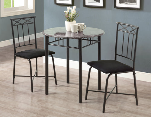 Candace & Basil Dining Set - 3PC Set / Grey Marble / Charcoal Metal