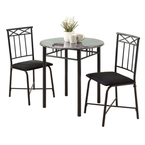 Dining Set - 3PC Set / Grey Marble / Charcoal Metal
