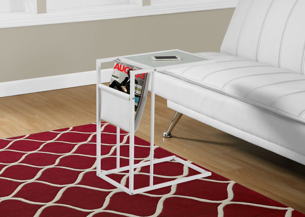 Candace & Basil Snack Table - White / White Metal With A Magazine Rack