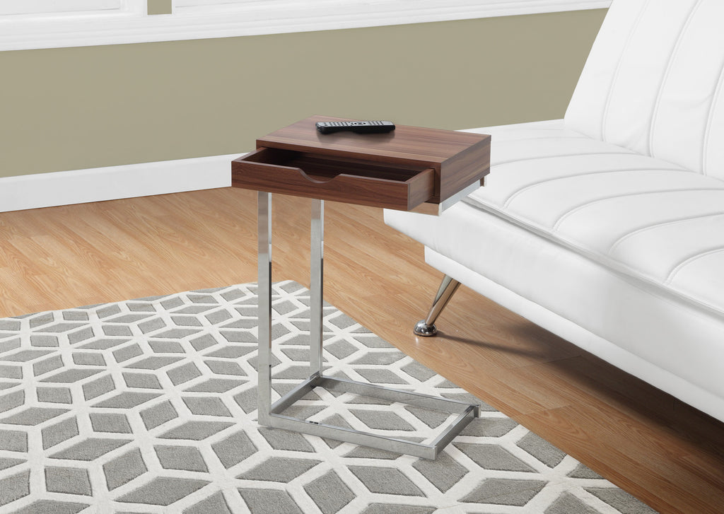Candace & Basil Snack Table - Walnut / Chrome Metal With A Drawer