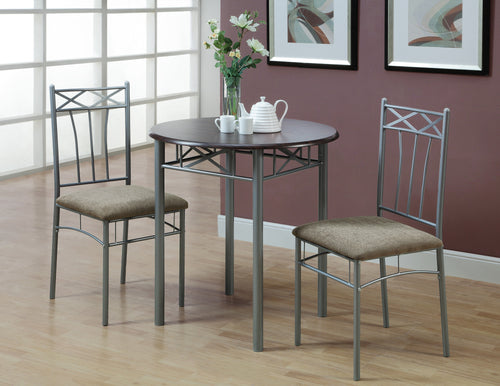 Candace & Basil Dining Set - 3PC Set / Cappuccino / Silver Metal